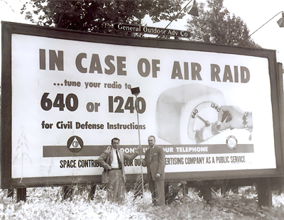 Advertisers  donate billboard space to CONELRAD awareness campaign - circa 1955