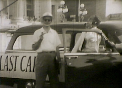 The last car out - in Operation Scat, 1954 Civil Defense short subject film about the first automobile evacuation of a major US city.