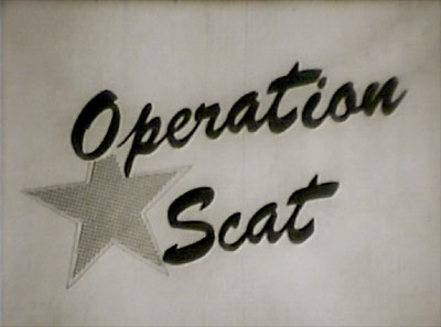 Title card of Operation Scat: The First 'Drive Out' Evacuation Attempted in the United States, a 1954 short subject Civil Defense film produced by the McClain Brothers of Mobile, Alabama for the Mobile County Civil Defense.