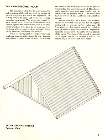 Above-Ground Wooden Fallout Shelter, from Family Fallout Shelters of Wood, recommended by National Lumber Manufacturers Association and reprinted by the OCDM as MP-21, December 1960
