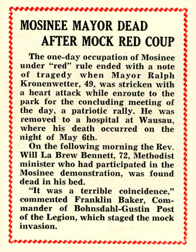 Mosinee Mayor Dead After Red Attack, The American Legin Magazine, June 1950