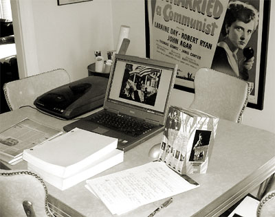 Script, news clippings, video box set, electronic archives - the scene at CONELRAD's AMERIKA research unit