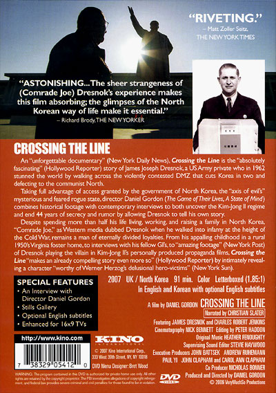 Crossing The Line DVD back cover