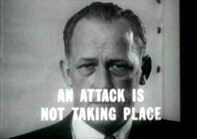 Helpful on screen reminder and lesson learned from Orson Welles - this is just a simulation, 'An Attack is Not Taking Place' - from CD film narrated by Glenn Ford A Day Called X.