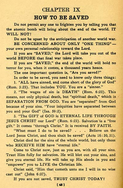 How To Be Saved - from W. D. Herrstrom's 'The Atomic Bomb and the End of the World'