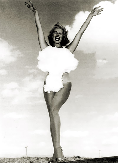 Miss Atomic Bomb, 1953 - Lee Merlin as photographed by Don English for the Las Vegas News Bureau outside the Sands Hotel in connection with an above ground atomic test