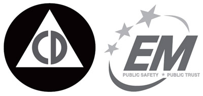 The Civil Defense 'C.D. logo created during World War II and the  new logo launched by the National Emergency Management Association, NEMA