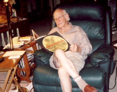 Walker Edmiston reading ATOMIC PLATTERS at his home, 2005